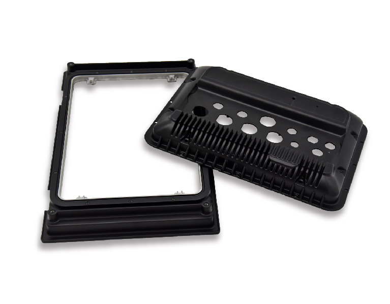 CNC-Machined-Aluminum-Display-Cover-with-Black-Powder-Coating
