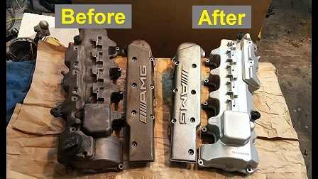 Aluminum parts before and after cleaning