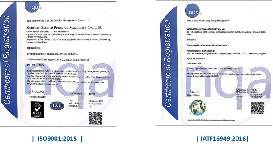 Sunrise Metal's International Quality CertificationsFigure-17 Sunrise Metal's International Quality Certifications