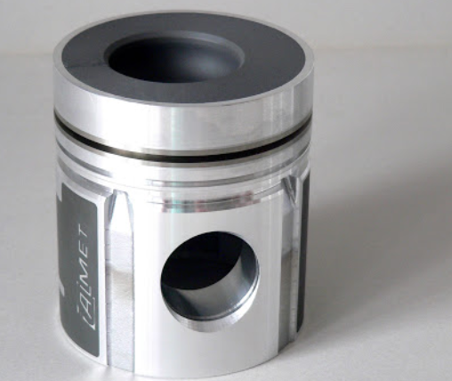 polished aluminum piston engine