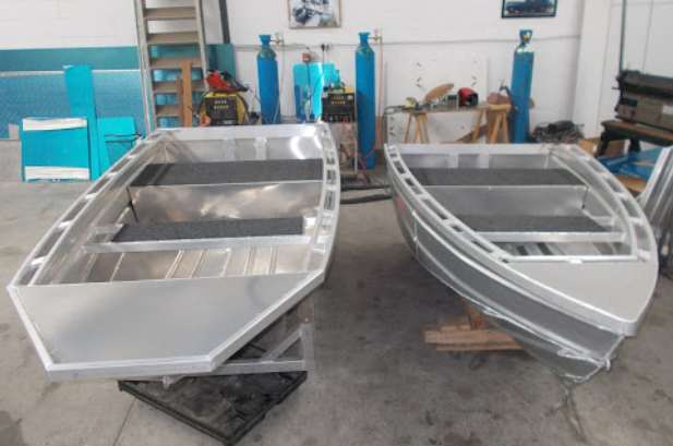 Polished cast aluminum boat